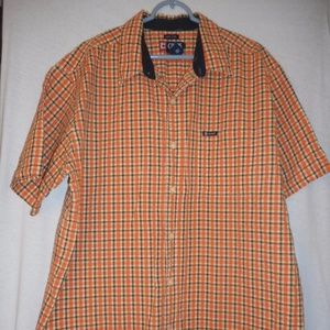 Chaps Size XL Orange Blue Plaid short sleeve shirt